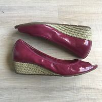 COLE HAAN Air Tali Size 9.5 B Magenta Patent Leather Peep Toe Rope Wedges Shoes
