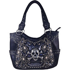 BLACK FLOWER RHINESTONE SKULL LEATHERETTE LOOK SHOULDER HANDBAG CONCEALED CARRY
