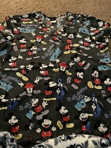 "Scrub Top Disney Mickey Mouse ""It All Started With A Mouse"" Large Women's"
