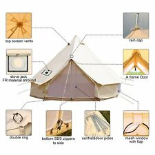 4-Season 6M Cotton Canvas Bell Tent Waterproof Large Family Camping Yurt Camping