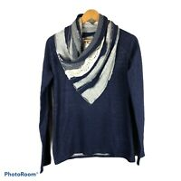 Desigual Women's Dulce Cowl Neck Pullover Sweater Blue Size Large