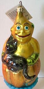 Christopher Radko GLASS Halloween Pumpkin MAN Jack W/BLACK CAT Tree Ornament