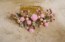 Gold  Bridal Hair Accessory Pink Rose Pearl, Hair Combs Home-coming Bride Maid