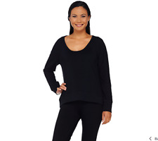 cee bee Cheryl Burke French Terry Long Sleeve Top Color Black Size Medium