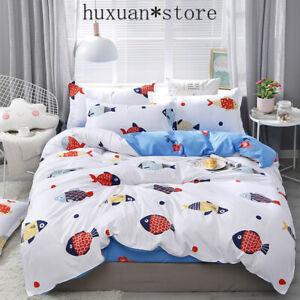 Fish bedding set HOME Duvet cover set bed set leaf flat sheet 3/4pcs linen set