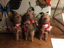 3 x Gisela Graham Ornaments Hedgehogs Hanging Christmas Tree Decorations New
