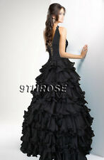 OWN THE STAGE! BEADED ONE SHOULDER FORMAL/EVENING/PROM/BALL GOWN; BLACK AU20US18