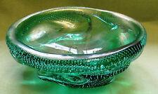Murano Glasschale; Grün Blasen Goldstaub