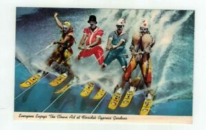 "Fl Cypress Gardens Florida vintage post card - ""Clowns Waterskiing"""