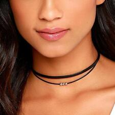 Black Double Layer Leather Choker Silver Beaded Bohemian Statement Necklace