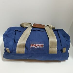 Vintage 90s Jansport Duffle Bag Blue Small Made in USA Canvas Outdoor