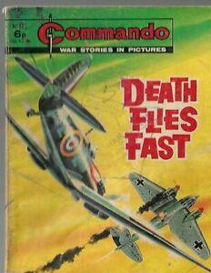 DEATH FLIES FAST,COMMANDO WAR STORIES IN PICTURES,NO.883,WAR COMIC,1974