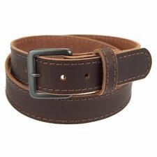 "Buffalo Leather Stitched Belt_1 1/4""_Gun Metal Finish Buckle_Amish Handmade"
