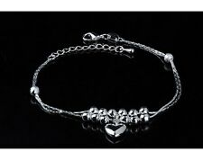 ADJUSTABLE Silver Anklet Bracelet Barefoot Sandal Beach Foot Heart Ball Chain AG