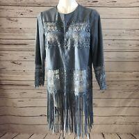 Chico's Faux Suede Jacket SIZE 1 MEDIUM Blue Fringe Lace Spring Harbour NWT $199