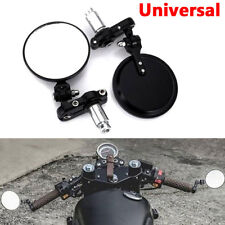 "Universal Aluminum Round 7/8"" Handle Bar End Motorcycle Rearview Mirrors Black"