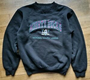 Anaheim California MIGHTY DUCKS NHL logo athletic crewneck hockey sweater sz M $