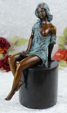 Bronzeskulptur Jungfrau Bronze Figur Frau Statue Akt Venus Erotik Schönheit Deko