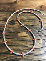 """#1107 Vintage 1970s Coral and Heishi 18"""" Necklace Sterling Silver Hook Eye Clasp"""