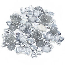 80 Mix Silver Shabby Chic Resin Flatbacks Craft Cardmaking Embellishments