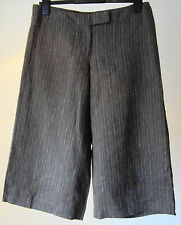 Great Plains ~ 3/4 length 100% Fine Linen Brown Striped Trousers ~ size 12