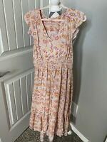 Nwot Lucky Brand Maxi Dress Waist Size Large Floral Pink Yellow