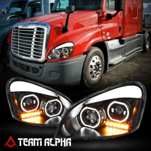 Fits 2008-2017 Freightliner Cascadia{LED BAR DRL HALO}Black Projector Headlight