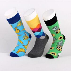 3 Pairs Men's Unisex Cotton Stylish Casual Happy Fashion Colourful Fancy Socks