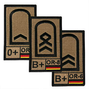 Bundeswehr Dienstgrad Rangabzeichen Aufnäher Patch m. Blutgruppe NATO-Rangcode