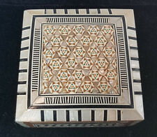 Mother of Pearl and Wood Inlay Trinket Jewelry Box