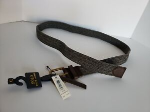 New Men's Polo Ralph Lauren Grey Nylon Braid Stretch Belt Size Small NWT