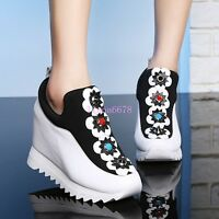 Womens FLower High Hidden Wedge Heel Creeper Spring Casual SNeakers Shoes Pumps