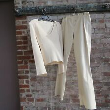 WOMENS CACHE OFF WHITE LEATHER PANT AND MATCHING TOP 4/6