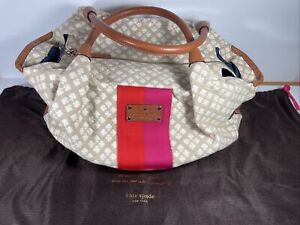 kate spade handbag Pink & Orange Tan Canvas Shopper Purse GUC