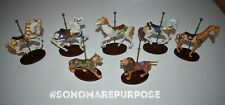 Lot of 7 Franklin Mint Carousel Horses Porcelain Figurines Wooded Base 1980's
