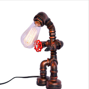 Vintage Industrial Iron Water Pipes Table Lamp for Bedside Desk Robot Steampunk