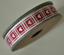 3m Roll Woven Ribbon White w Red Stitch Heart Detail Wedding East Of India