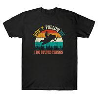 Don't Follow Me I Do Stupid Thing Gift Tee Men's Cotton Short Sleeve T-Shirt