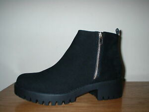 ASOS TRUFFLE  BLACK MICRO SUEDE ZIP CHUNKY PLATFORM  CLEATED CHELSEA BOOTS  3/36