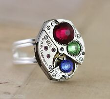 Personalized Gift Birthstone Ring Sterling Silver Mother Mom Unique Cocktail
