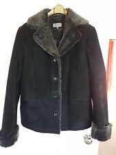 Ladies real suede black coat , faux fur trim. Size 16 BNWOT.