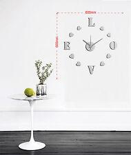 Wanduhr Wandtattoo Silber Wandsticker Uhr «Love» 3D Ziffern IV