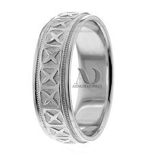 His & Her X Pattern Milgrain Wedding Ring Solid 10K White Gold 7mm Wedding Band