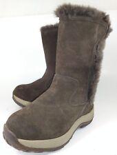 LL Bean big Kid Boots Tall US13 Brown Suede Faux Fur Hook Loop Winter Cold 498