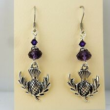 Silver Scottish Thistle earrings with purple Cyrstal beads