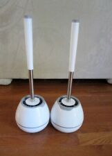 2 NEW White Toilet Brushes with holders