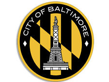 4x4 inch Round City of BALTIMORE Seal Sticker - decal logo maryland md crab