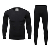 Mens Ultra-Soft Fleece Lined Thermal Base Layer Top & Bottom Set - Black, XL