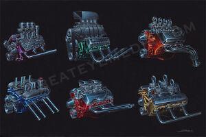 ZOMBIE-ART PRINT-CHEVY,FORD,HOT ROD,ENGINE,RAT ROD,CARS,ED ROTH,LOWRIDER,DODGE