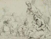 Die heilige Familie mit Jesusknaben und Johannes dem Täufer, 18. Jh, Federzchng